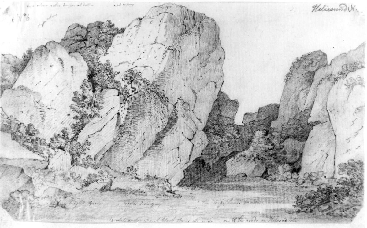 "Ny HellesundFra skissealbum av John W. Edy, ""Drawings Norway 1800""."