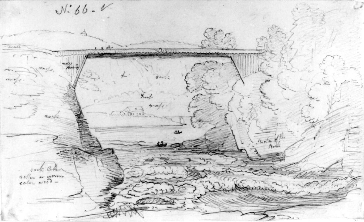 """Ant. TelemarkFra skissealbum av John W. Edy, """"Drawings Norway 1800""""."""