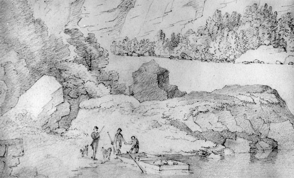 "TorridalselvaFra skissealbum av John W. Edy, ""Drawings Norway 1800""."