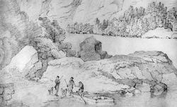 """TorridalselvaFra skissealbum av John W. Edy, """"Drawings Norw"""