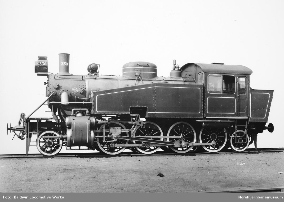Leveransefoto av damplokomotiv type 34a nr. 330 fra Baldwin Locomotive Works