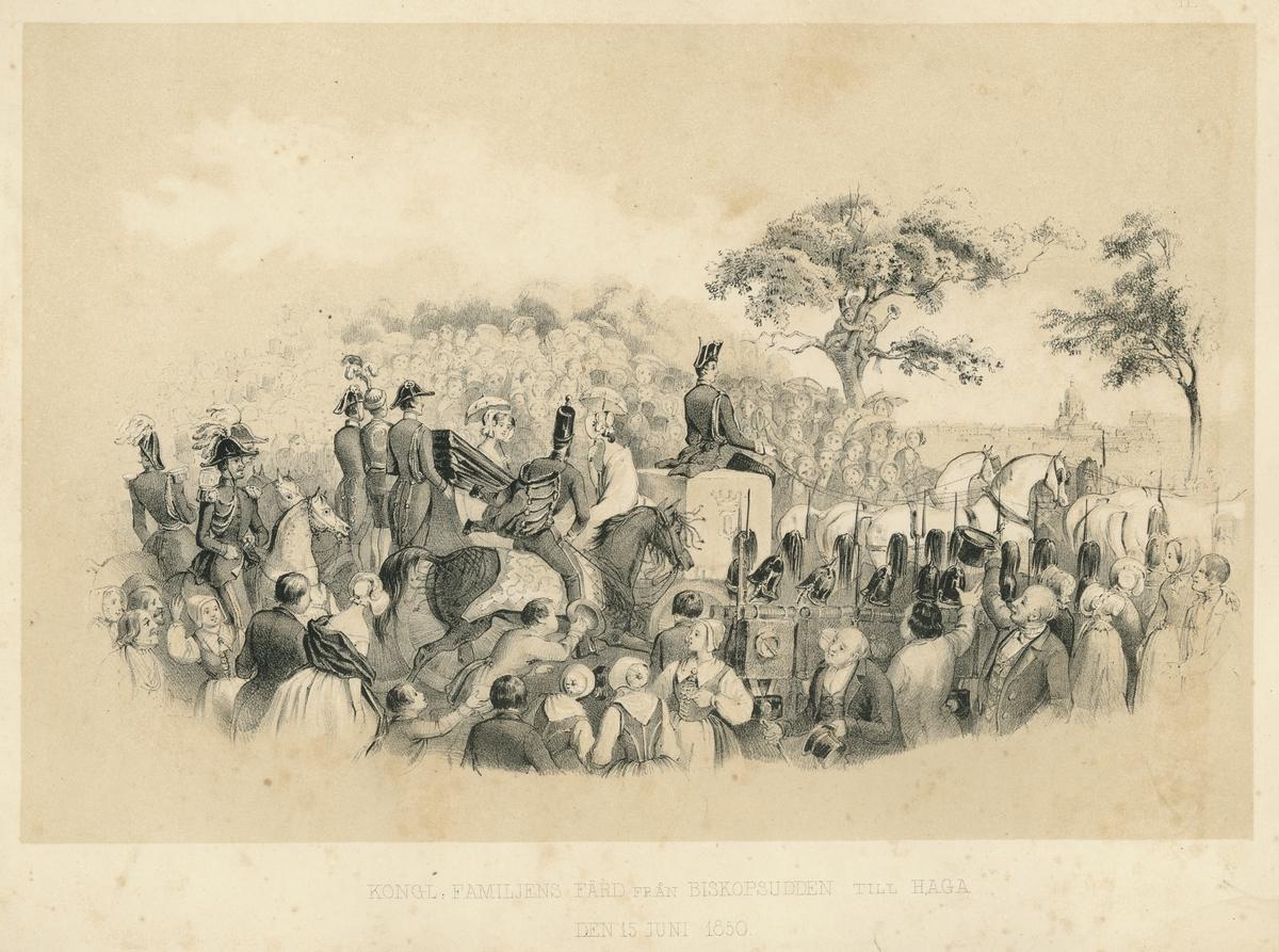 """Litografi av A. Weidel. Hovliv, Karl XV och Lovisas av Nassau-Oraniens förmälning 1850. """"Kongl. Familjens färd från Biskopsudden till Haga den 15 juni 1850"""""""