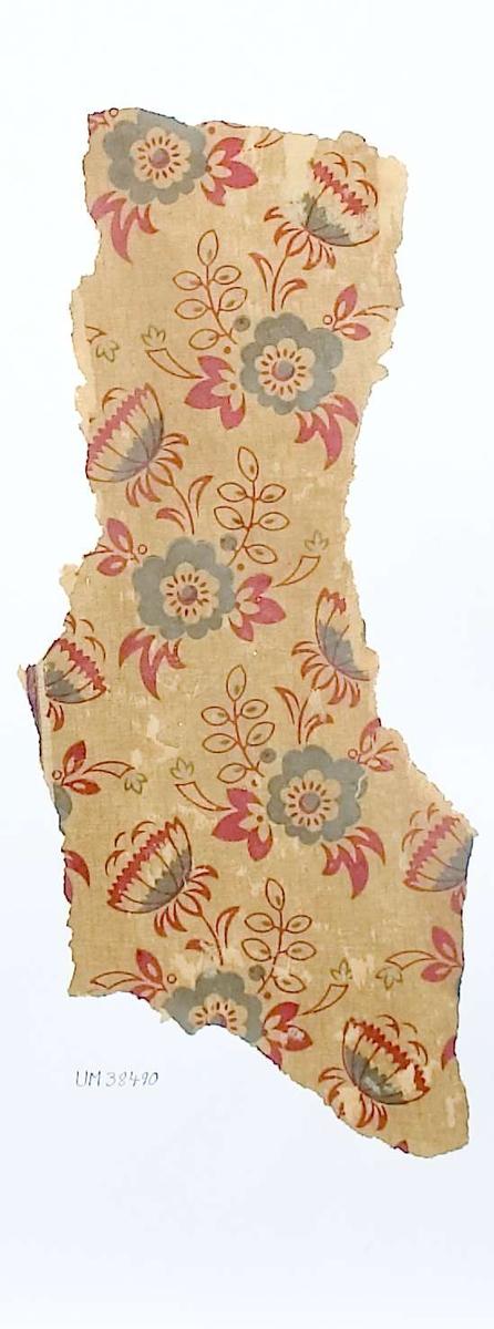 Tapetprov med tryckt mönster, grått, rött och beige. Kartongen är numrerad på baksidan: 160 4.