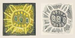 """Tjugo skisser av röllakansmattor, småmattor med mera. Skisserna är gjorda med vattenfärg på papper som sedan är uppklistrade på pappskivor. Skisserna är signerade """"Ingrid Skerfe-Nilsson"""" och några har namn enligt följande: """"Gul Ripsruta"""", """"Blå Ripsruta"""", """"Grå Ripsruta"""", """"Humle IV"""", """"Humlestång"""", """"Humle"""" och """"Eldros"""". Några av skisserna är daterade 1948 respektive 1949."""