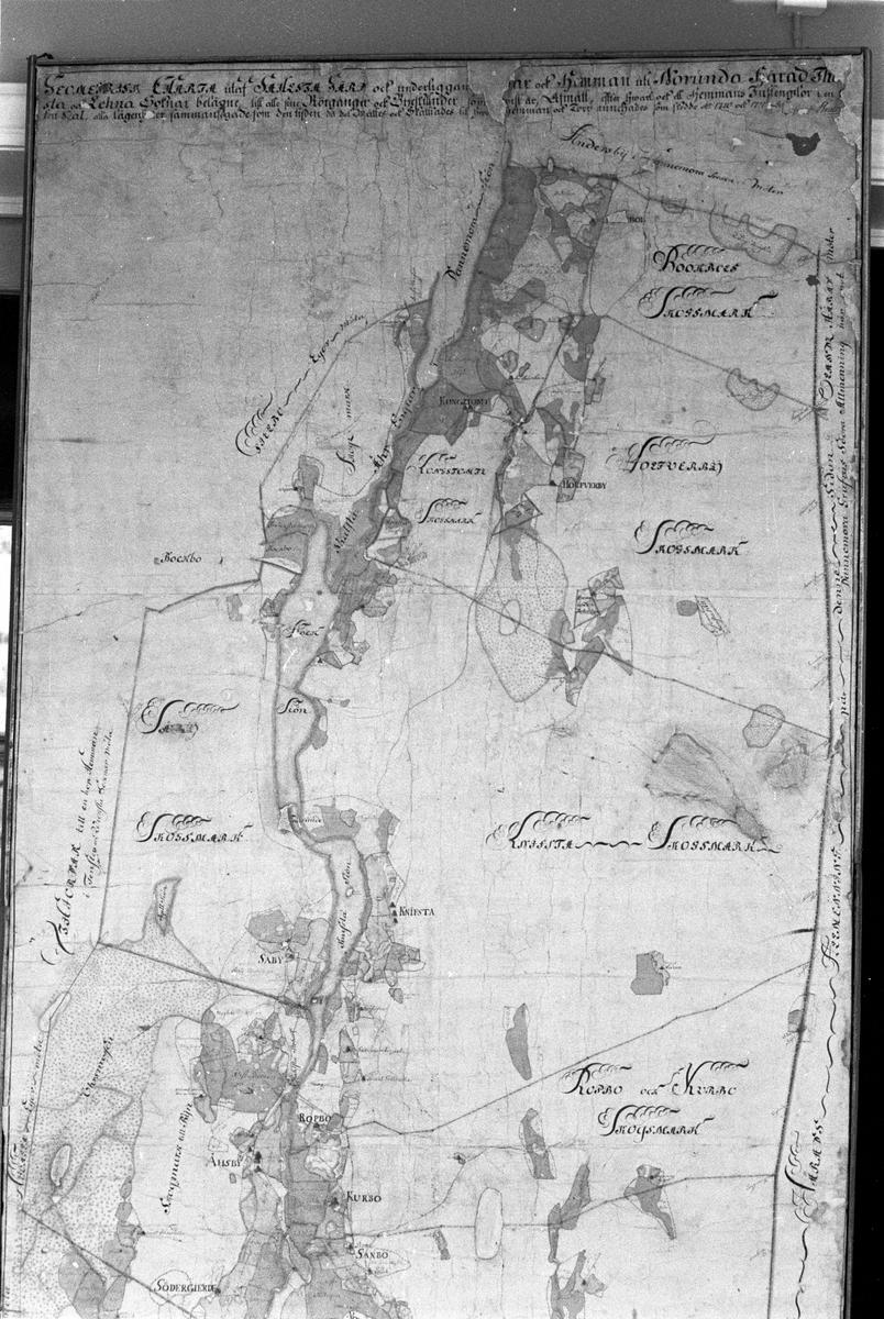 Avmätningskarta över Salsta-Vattholma från 1710-1711. I privat ägo hos Joakim von Essen SM1117, Lena socken, Uppland 1977