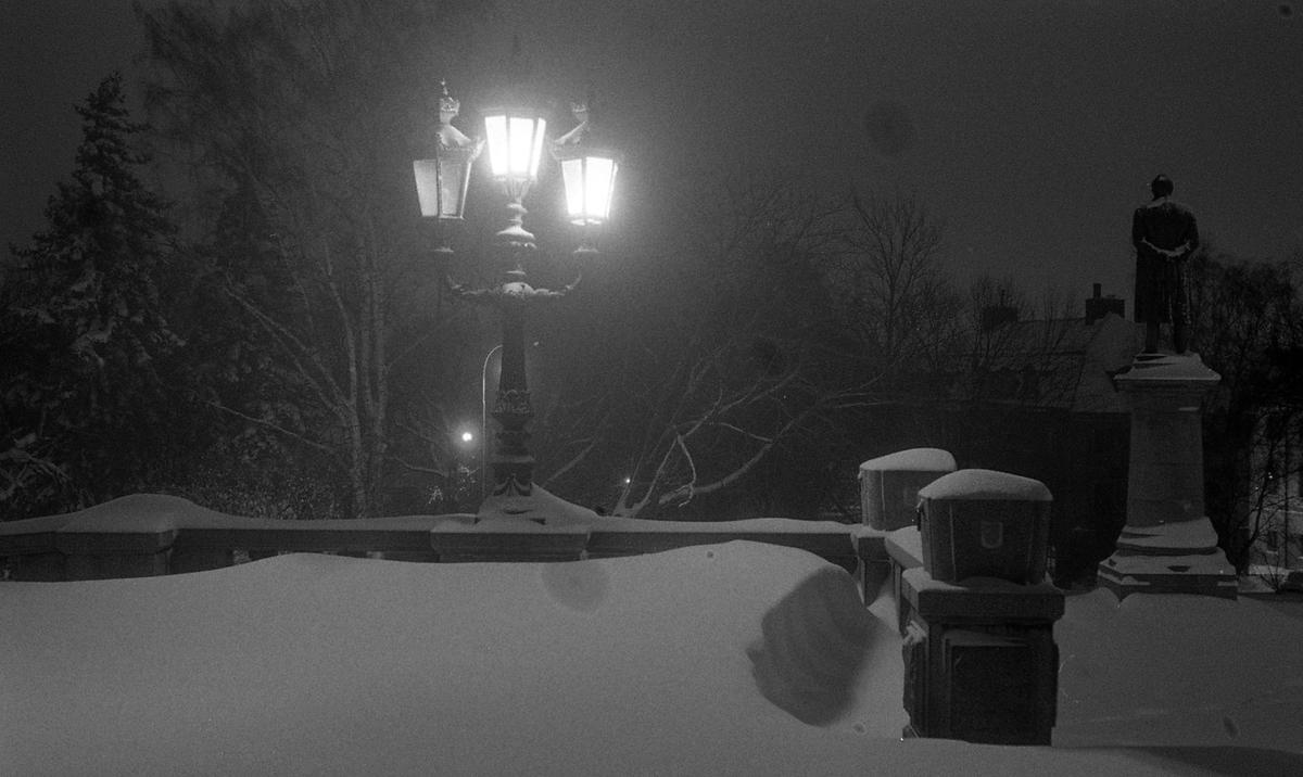 Vintermotiv, trappan utanför Universitetshuset, Uppsala 1961
