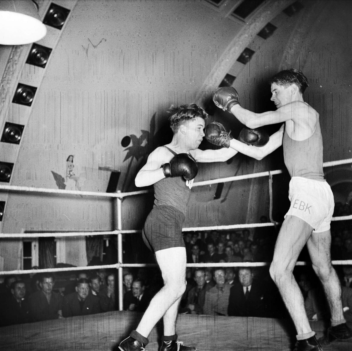 Boxningsmatch - Upsala Idrottsförening, UIF, Bluffen, Kungsgatan, Uppsala 1947