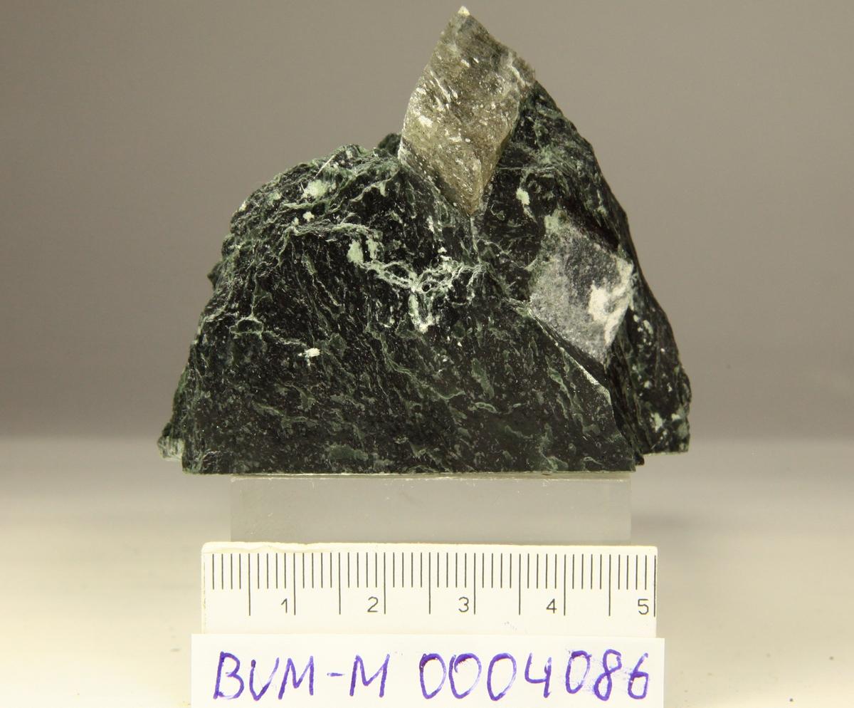 Magnesitt, grålig og gjennomskinnelig, i kloritt.