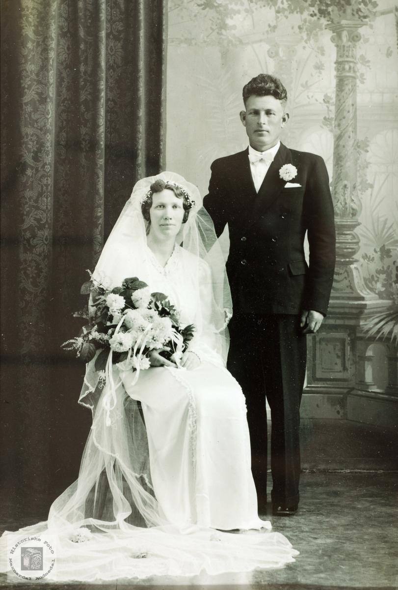 Brudebilde av Jenny Agnes og Nils Håland, Grindheim senere Audnedal.