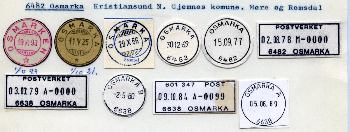 Stempelkatalog  6482 Osmarka, Gjemnes kommune, Møre og Romsdal