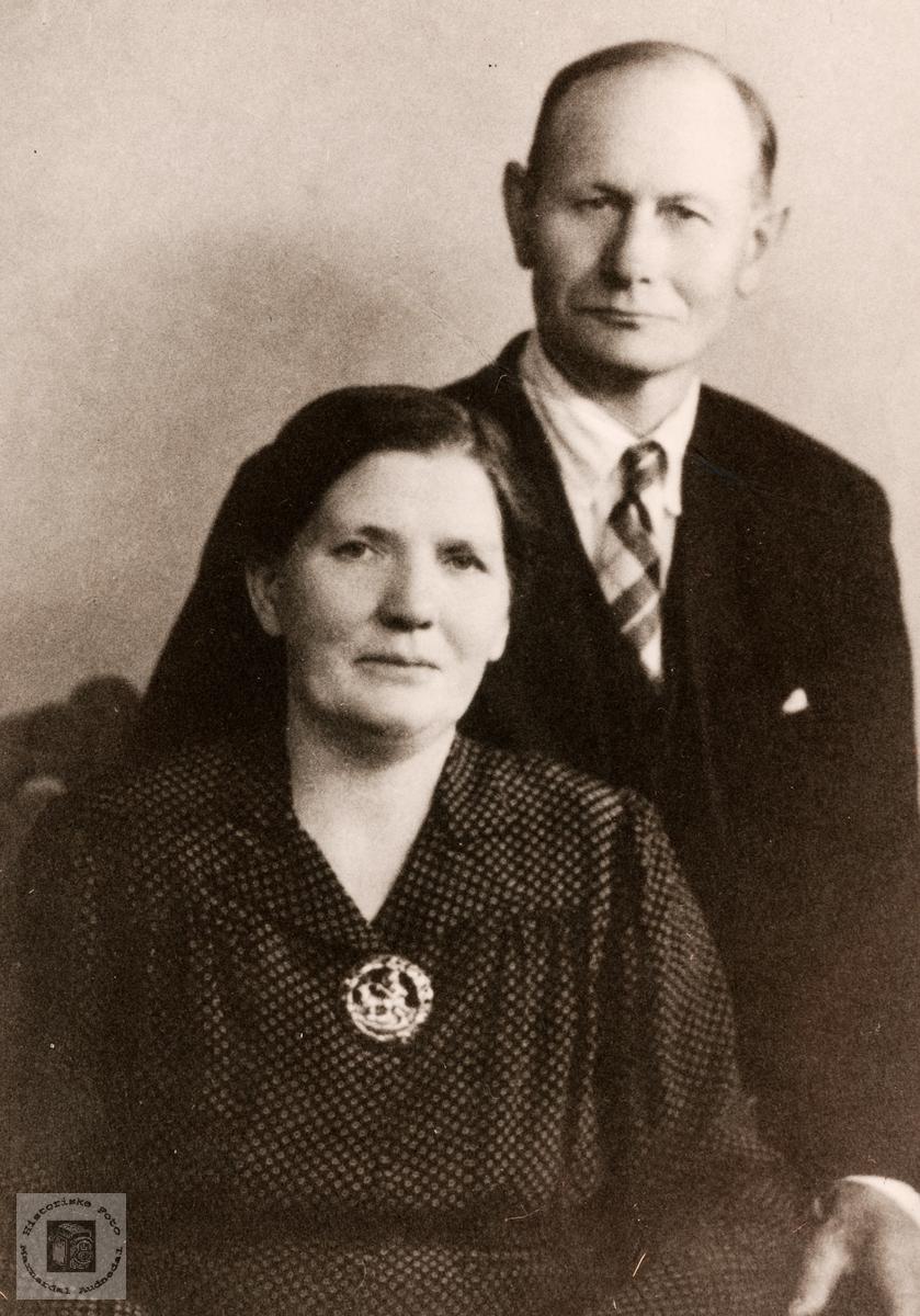 Portrett av ekteparet Johanna og Abraham Høyland,. Konsmo.