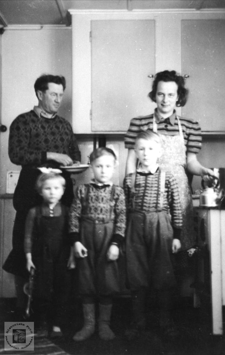 """Familie på """"Bakkan"""" Øvre Homme, Bjelland."""