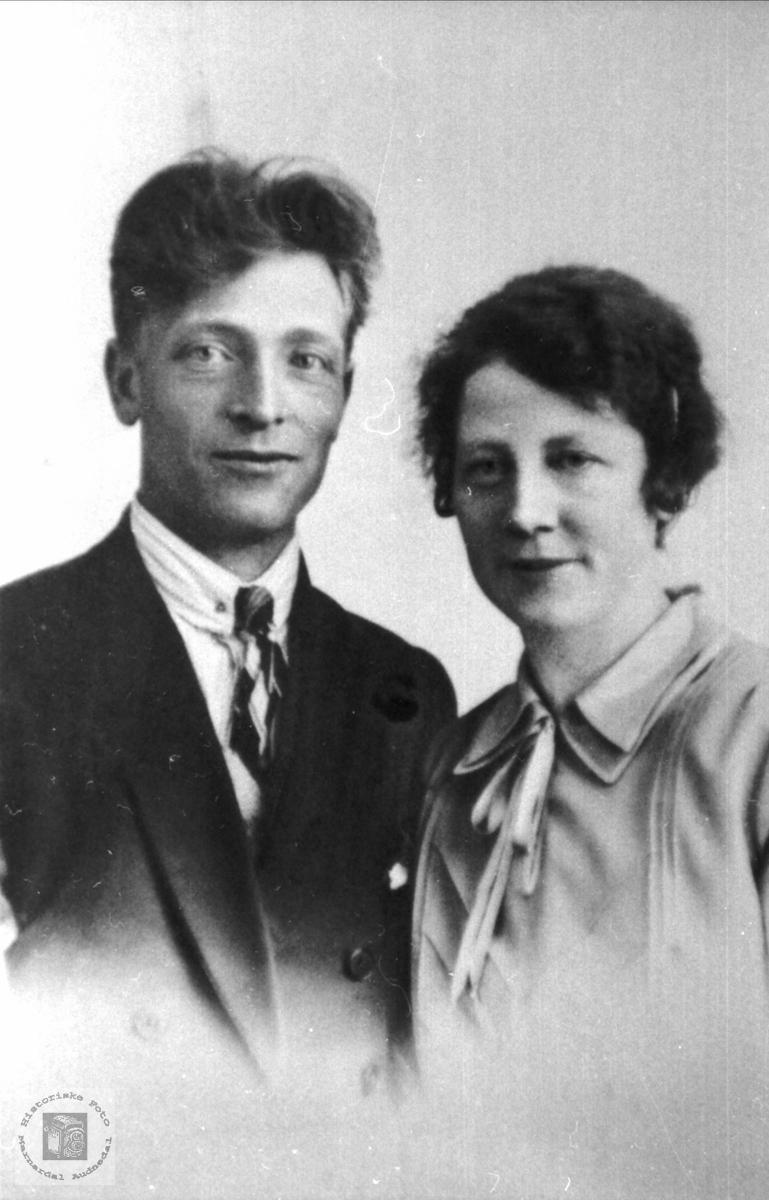Portrett av ekteparet Reidar og Ingeborg Hagen, Sundbø i Bjelland.