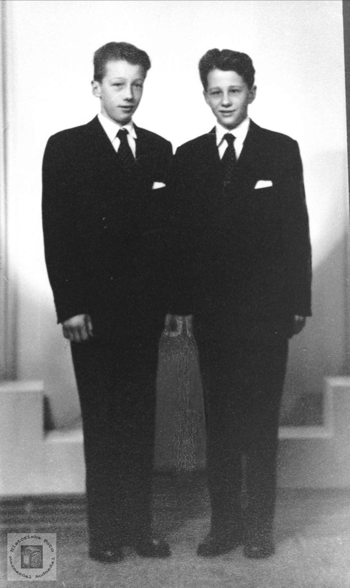 Konfirmantene Torgny og Sigurd Manneråk, Øyslebø.