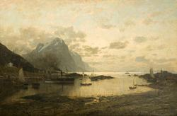 Dampskipsanløp i Lofoten [Oljemaleri]