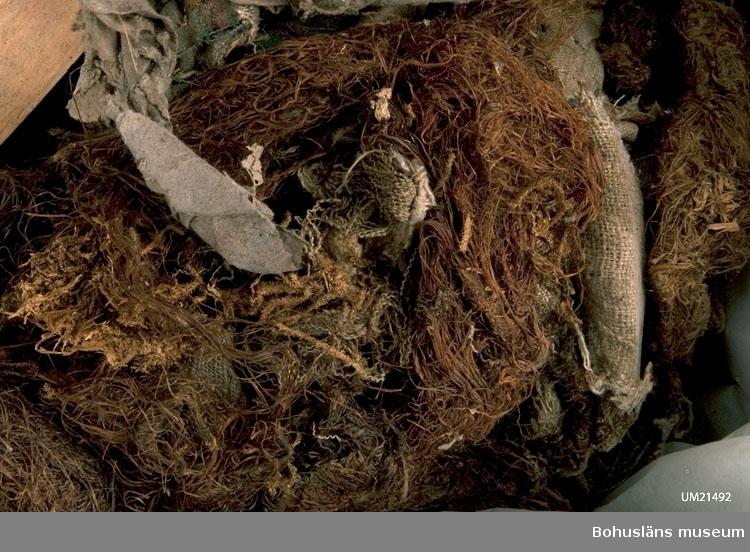 Tätningdsmaterial och  fylle i timmerhus: björnmossa, husmossa, linnetrasor, trasor av yllevävnad, tidningsfragment, läskpapper, lumppapper, jutesäck, trätoffel för högerfot, bönbok, trasdelar av vävda ylleplagg, trasdelar av bomullsplagg, trasdelar av stickade plagg, cylinderdelen av hög svart hatt med sämsskinnsfoder, framben av vuxen gris med gnagspår av råtta.