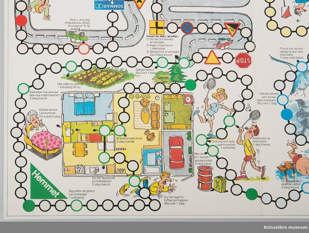 Föremål  insamlade i projektet Oil Field Girls - petrokemisk industri i Stenungsund 2003-2004.  1 st. tärningsspel utarbetat av arbetsgruppen mot fritidsolycksfall.  Säkerhet - företaget var på 1960-70 talet lika angeläget att prata om säkerhet på fritiden som på jobbet så därför delades det ut en hel del material till alla anställda  i from av : familjespel, kortlek, klistermärken.  Flera av föremålen representerar tiden då den petrokemiska industrin byggdes upp i Stenungsund. Samtidigt som man byggde industri  sökte man folk som kunde arbeta där. Man anställde medarbetare från hela Sverige. Många kom från norra Sverige. Stenungsund slog svenskt rekord i folkökning. Nästan alla var unga. Eftersom petrokemin var en ny industri i Sverige så saknades kunskaper. Både Esso och Unifos tog in amerikanska experter. Deras familjer bosatte sig också i Stenungsund.  De nya innevånarna i Stenungsund kände sig rotlösa och lite ensamma. Esso klubben fick en stor social betydelse för alla nyinflyttade. Esso klubben ordnade en mängd fritidsaktiviteter för de anställda och deras familjer. Man talade om en Esso anda som innebar - omtanke om alla. Alla anställda var med i Esso klubben. Familjedagar var något som Esso klubben ordnade.   För ytterligare uppgifter om föremål kopplade till hälsovården inom petrokemin, se UM27903. För övrig information om insamlingen, se UM27903.