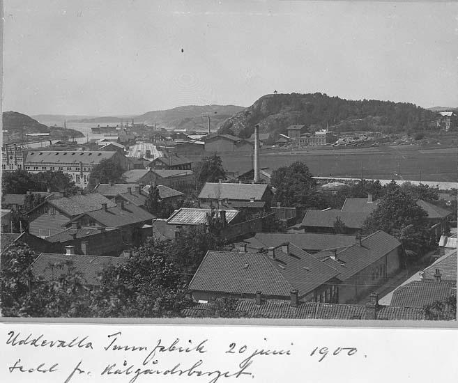 """Text på kortet: """"Uddevalla Tunnfabrik 20 juni 1900, sedd från Kålgårdsberget""""."""