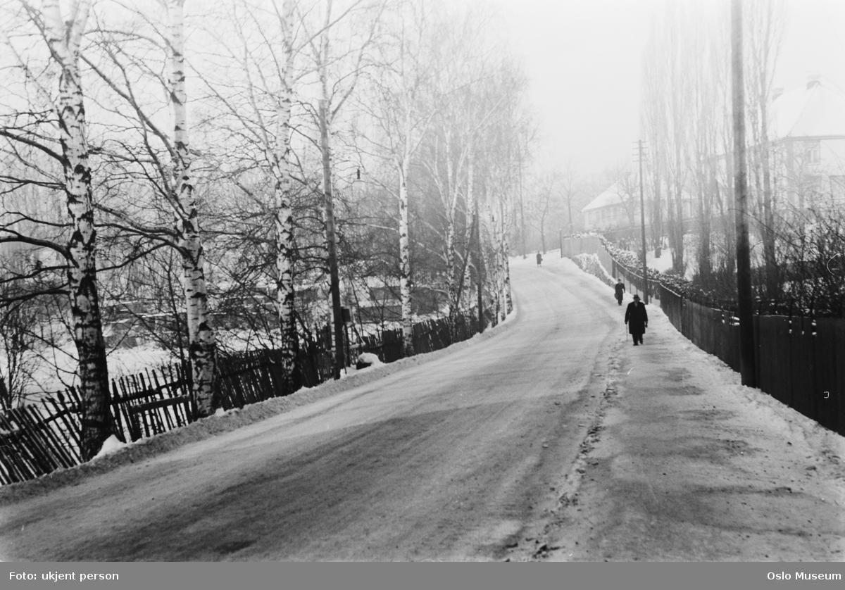 vei, mennesker, Vestre Aker prestegård, snø
