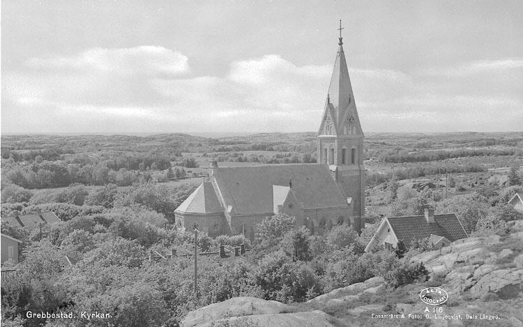 """Enligt AB Flygtrafik Bengtsfors: """"Grebbestad kyrkan Bohuslän"""".  ::"""
