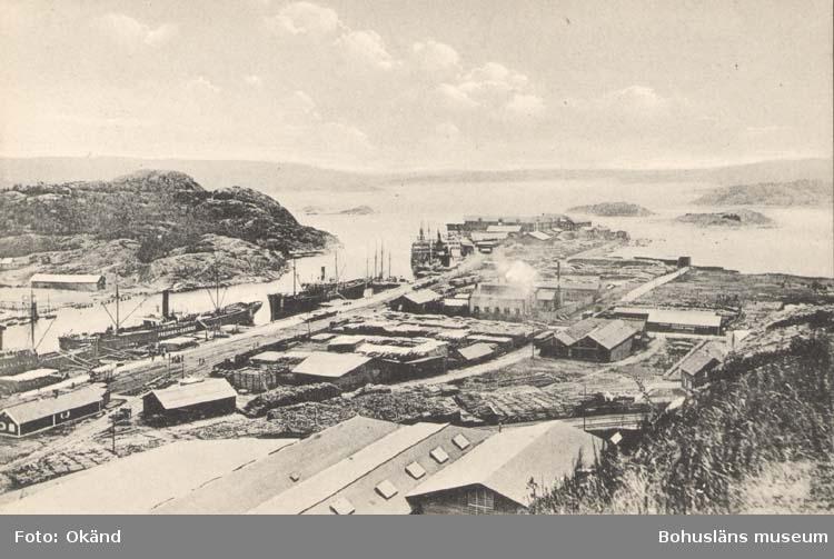 """Tryckt text på kortet: """"Uddevalla. Utsikt av Hamnen."""" """"J. F. Hallmans Bokhandel, Uddevalla."""""""