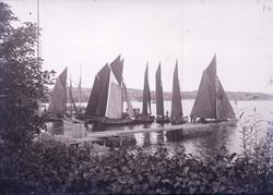 """Enligt text som medföljde bilden: """"Lysekil, Garnbåtar vid ån"""