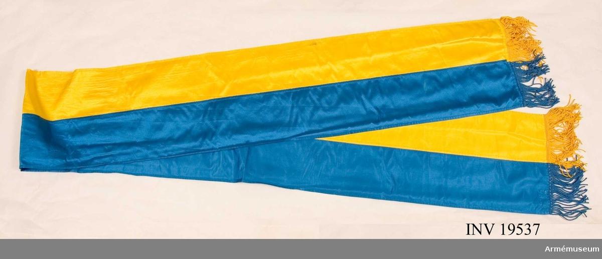 Kravatt till fana för Östgöta flygflottilj F 3. Kravatt med frans i silke.  Samhörande nr AM 19535-38, fana, spets, kravatt, fodral.
