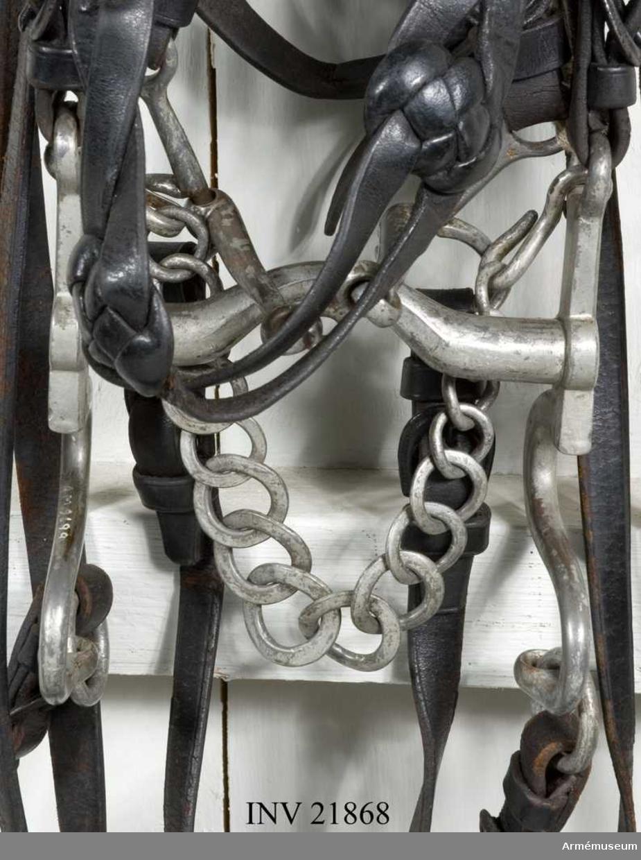 Grupp K I.  Har varit upplagt på hästskelett av järn. Huvudlag och tyglar gåva av major Spak år 1900, övrigt enligt AF persedelanordning nr 52, 24/9 1900