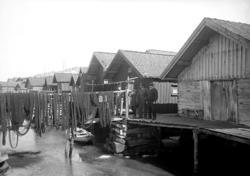 April 1924. Gamla sjöbodar i Gravarne, byggda på stenkista.