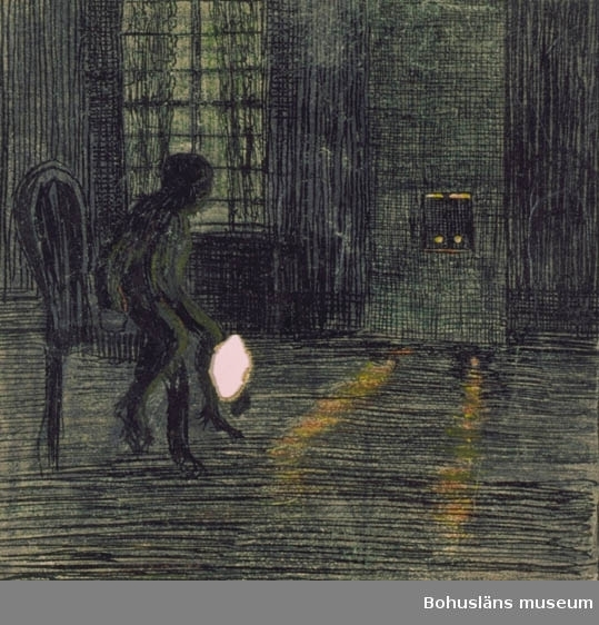 """""""Långt i komp. 4 stolar i prästgårdsstil längs väggen"""" antecknat med blyerts i höger kant. Tillkomstort Stockholm. För uppgifter om konstnären Ragnar Ljungman, se RL001."""