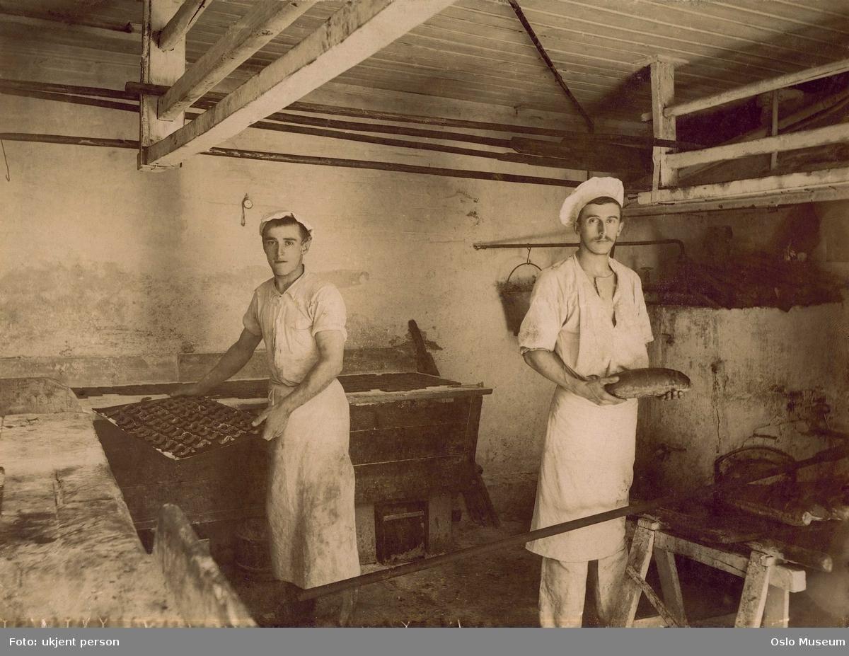 bakeri, interiør, menn, bakere, brød, kaker