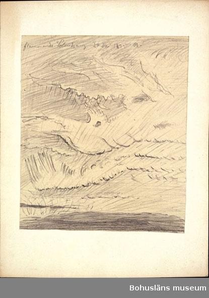 Flammende solnedgang. (Norge, 24 mai 1895)  Övrig historik se UM76.14.001.  Ur punktnummerkatalogen 1958-1976: U Deposition teckningar och akvareller Ole Kruse