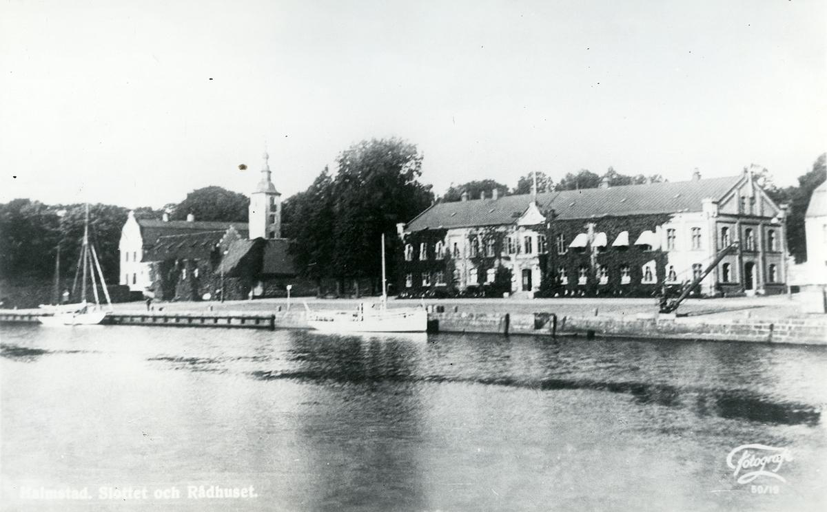 Halmstad, Rådhuset/Tullkammaren. Hamngatan. Kv Rådstugan. Halmstad, Slottet och Rådhuset.