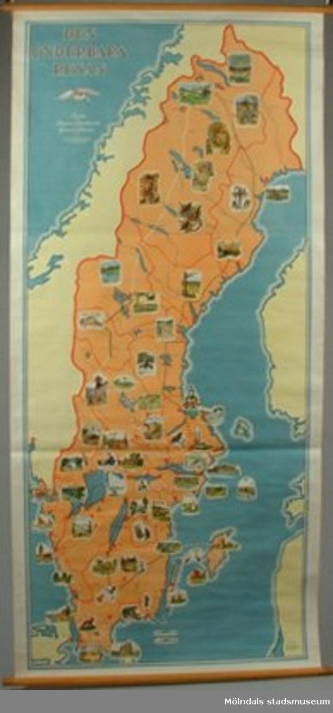 Geografisk karta över Nils Holgerssons resa i Sverige.