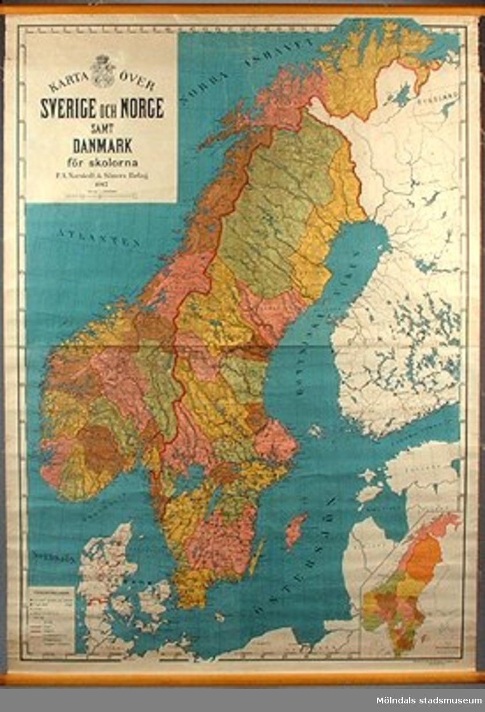 Geografisk karta över Norden.