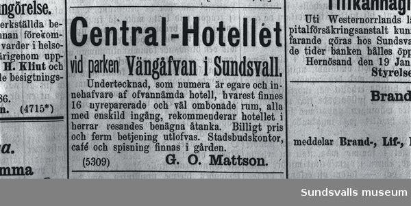 Annons för Centralhotellet i Sundsvalls-Posten.