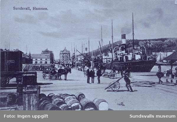 Vykort. Sundsvall. Hamnen.
