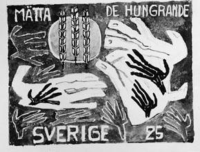 Frimärksförlaga till frimärket Världskampanjen mot hunger, utgivet 21/3 1963. Med anledning av FN-kampanjen mot hungern. Motivet är tre stycken sädesax samt stiliserade händer. Originalteckning och förslagsskisser utförda av Vera Nilsson Valör 25 öre.