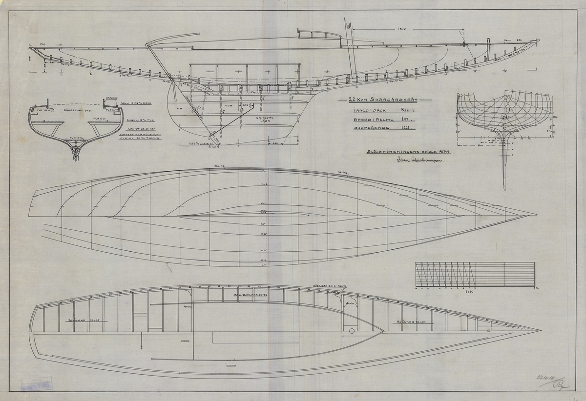 Spantruta, linjeritning, konstruktionsritning i profil och plan