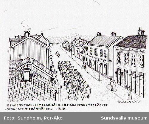 """""""Stadens skarpskyttar tåga till Skarpskyttelägret. Storgatan från väster 1880."""""""