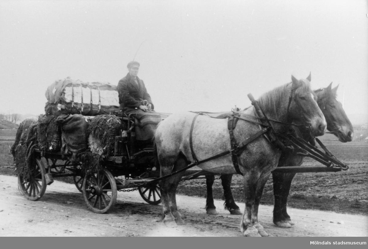 Kusken Robert Börjesson kör bomullstransport för Anderstorps fabrik 1910-20-tall. Den klarade av 5 st bomullsbalar, vilket var full last för 2 st hästar. Anderstorps fabrik grundades 1829 - 1989, övergick till färgeri 1997.