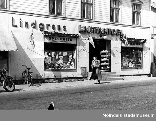 Lindgrens lanthandel, 1940-tal. Okänd plats.