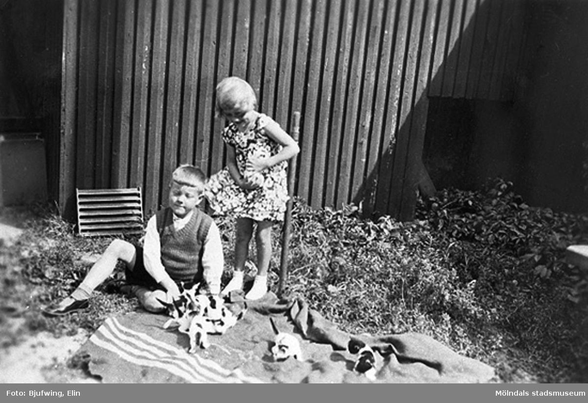 Kusinerna Ingemar Larsson och Lillemor Andersson leker med kattungar utanför kvarnen på Göteborgsvägen. Lillemors far var innehavare till kvarnen.