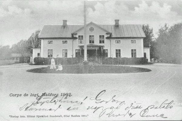 Matfors herrgård. Brevkort med texten Corps de logi, Matfors 1902.