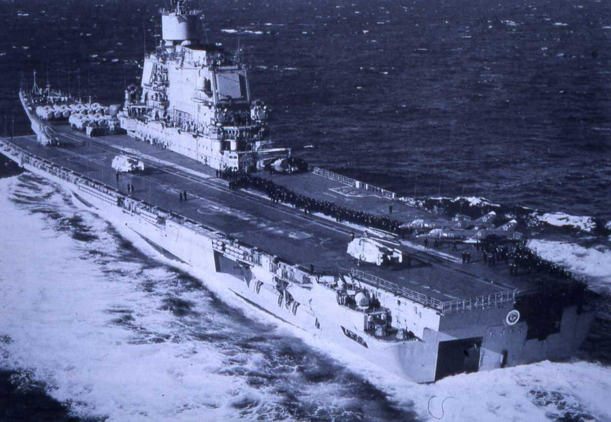 Russisk hangarskip av Modifisert Kiev - klassen som heter Admiral Gorshkov.