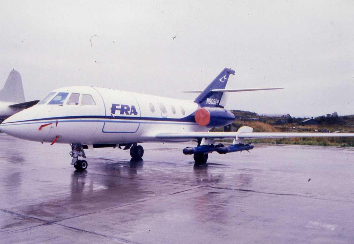 Fransk fly av typen Dassault Falcon og sannsynligvis 20. Flyet er merket N905FR.