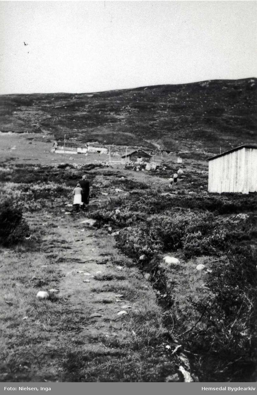 Hustadstølen i Mørkedalen i Hemsedal i 1940. Fru Kristensen og dottera hennar.