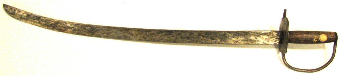 Form: Einegga,krum. Trehandtak, jernbøyle (23) 15: og parerplate. Våpen - jakt - skyting  (tidsskrift) Norsk våpenhistorisk selskap MTM