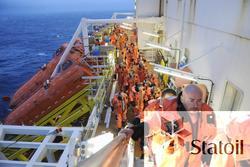 En livbåtøvelse på Statfjord C er utført, og deltakerne er p
