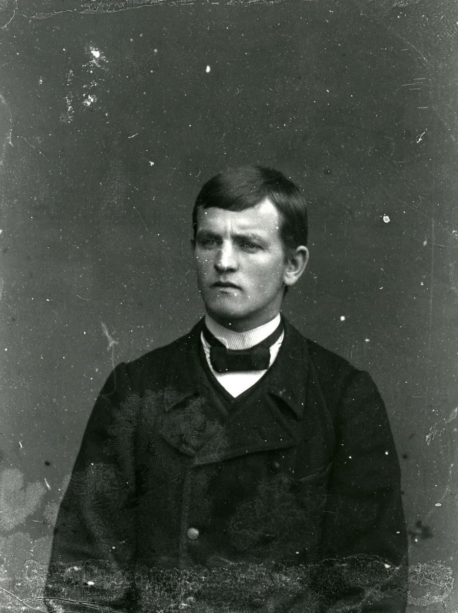 Ung mann i halvfigur, lerretbakgrunn